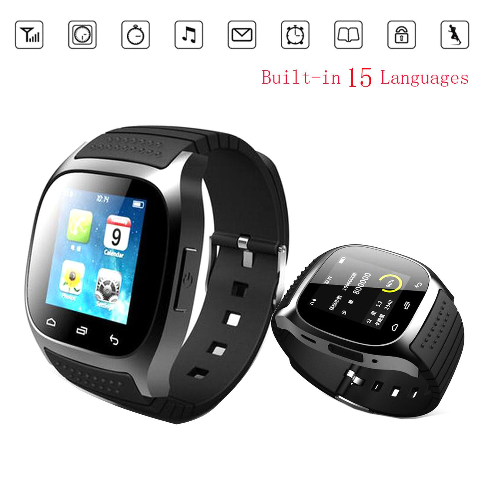 US Stock Touch Screen Bluetooth Smart Watch For Android