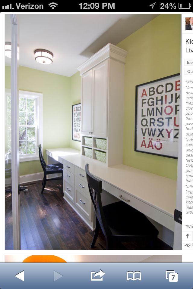 Basement Study Room: Basement - Like The Desk Area For Kids?
