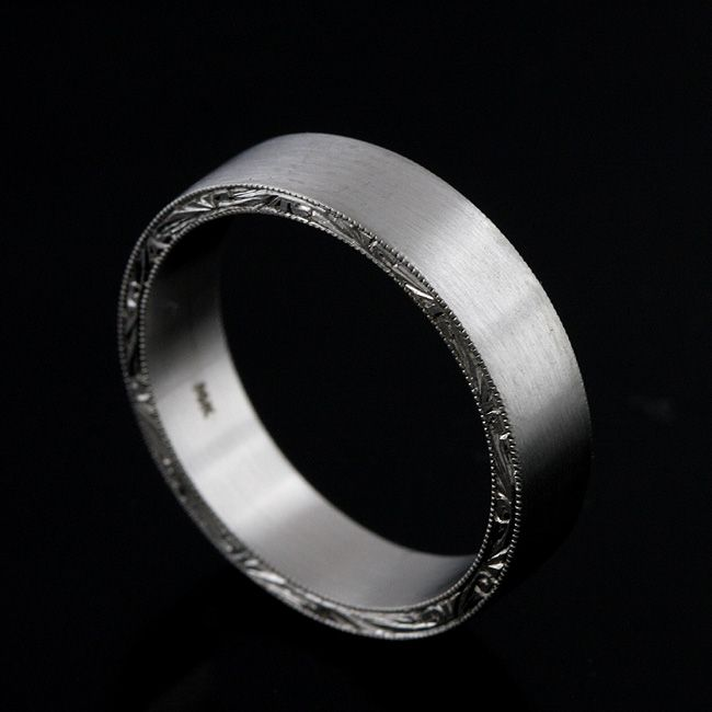 869 00 Solid 14k White Gold Satin Matte Finish 5mm Wide Hand Engraved Crafted Flat Men S Wedding Band