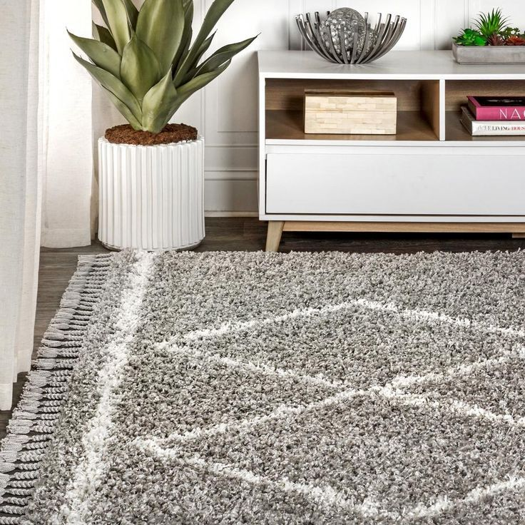 JONATHAN Y Mercer Shag Plush Tassel Moroccan Tribal Geometric Trellis Grey/Cream 8 ft. x 10 ft. Area Rug-MCR103C-8 - The Home Depot.            Perfect Rug by JonathanY. Click through to find the best rugs to decorate your living room!. #JonathanY #HomeDecor #Rugs #ModernRug #PersianRug #MoroccanRug