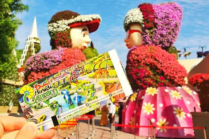 The ticket price of 55 AED from Dubai Miracle Garden is