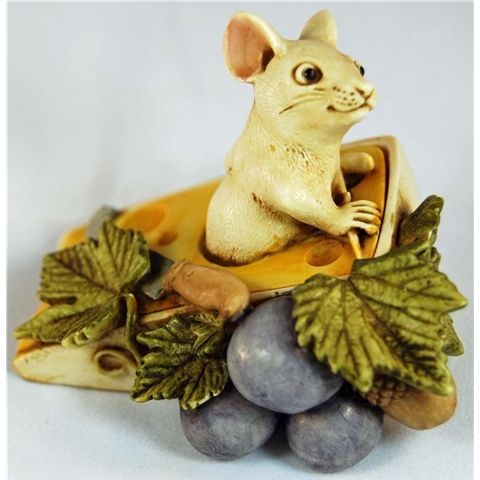 HARMONY KINGDOM GRUYERE MOUSE ON SLICE O SWISS CHEESE TREASURE JEST TJDLMI-1-MIB