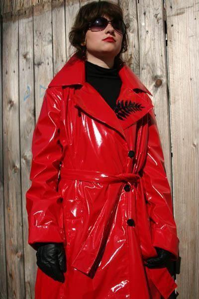 Red PVC Raincoat | pvc macs | Pinterest