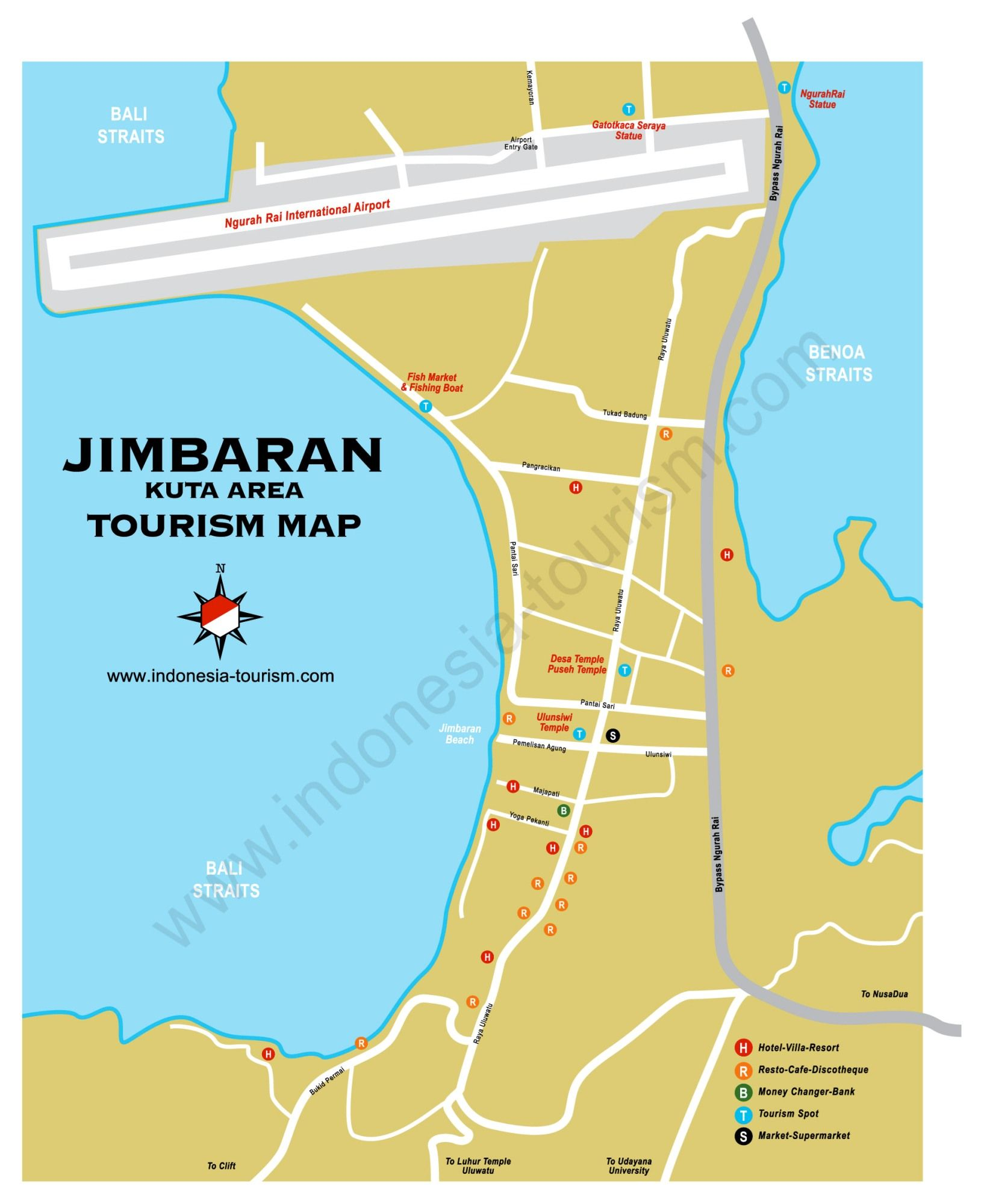 Carte Bali Benoa.Carte Bali Jimbaran Indonesia Tourism Travel