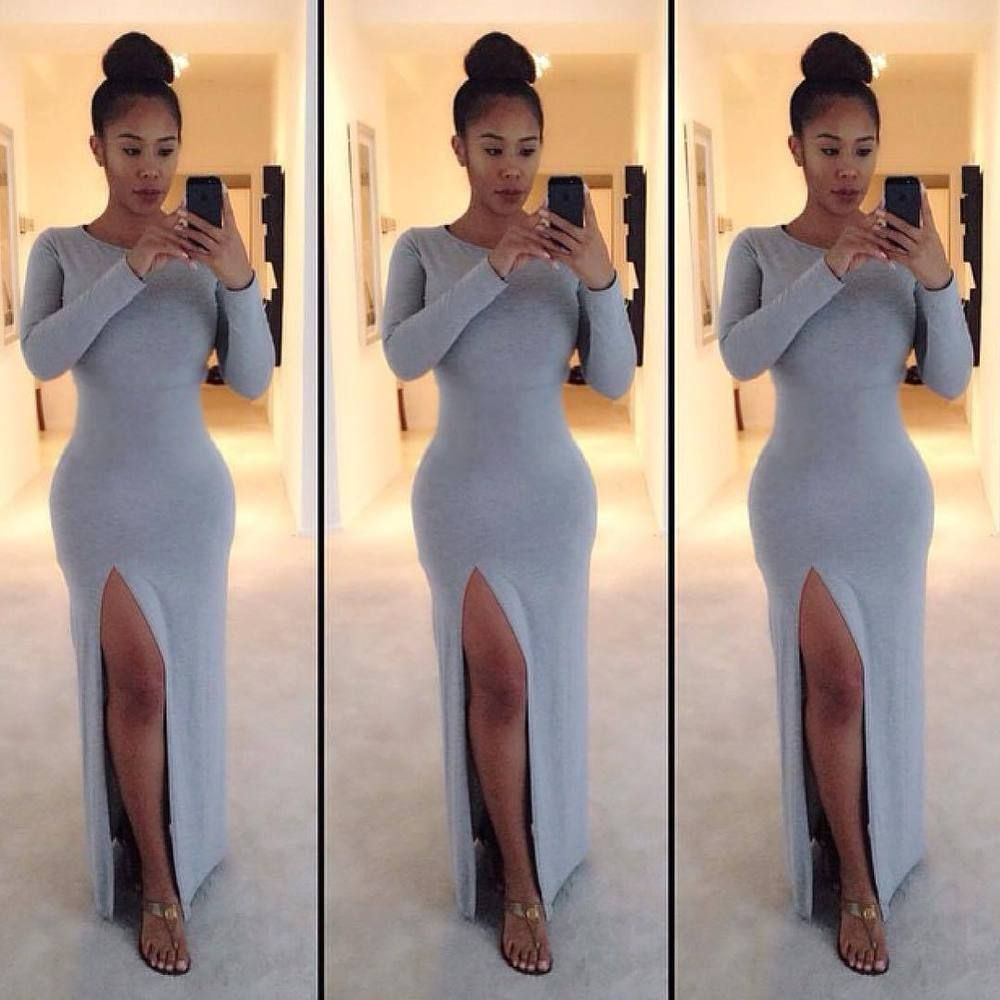 Sexy womens side split long sleeve bodycon dress evening party gray