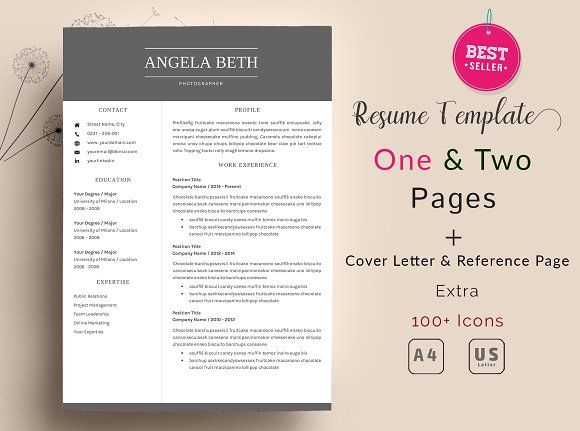 2 page resume template 1 cover letter template Fonts link included - cover letter template word 2010