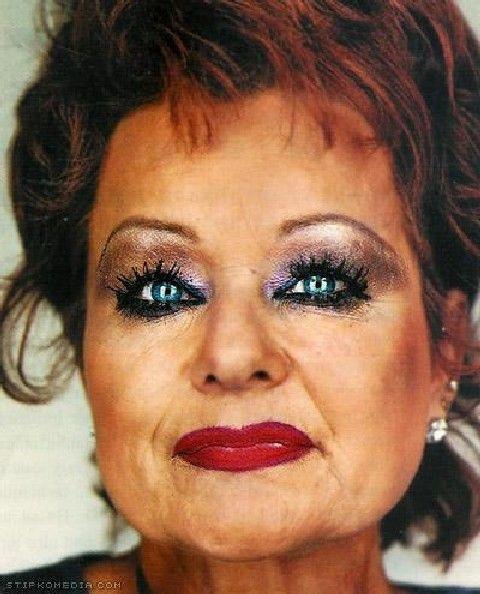 Mature heavy makeup