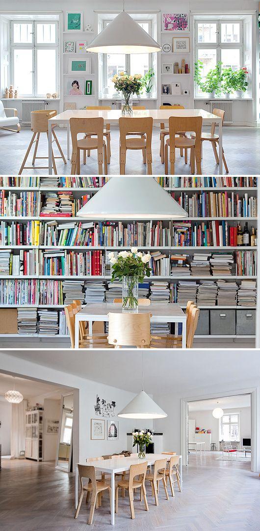 inspiration matsal köksbord biblioteksvägg platsbyggd bokhylla