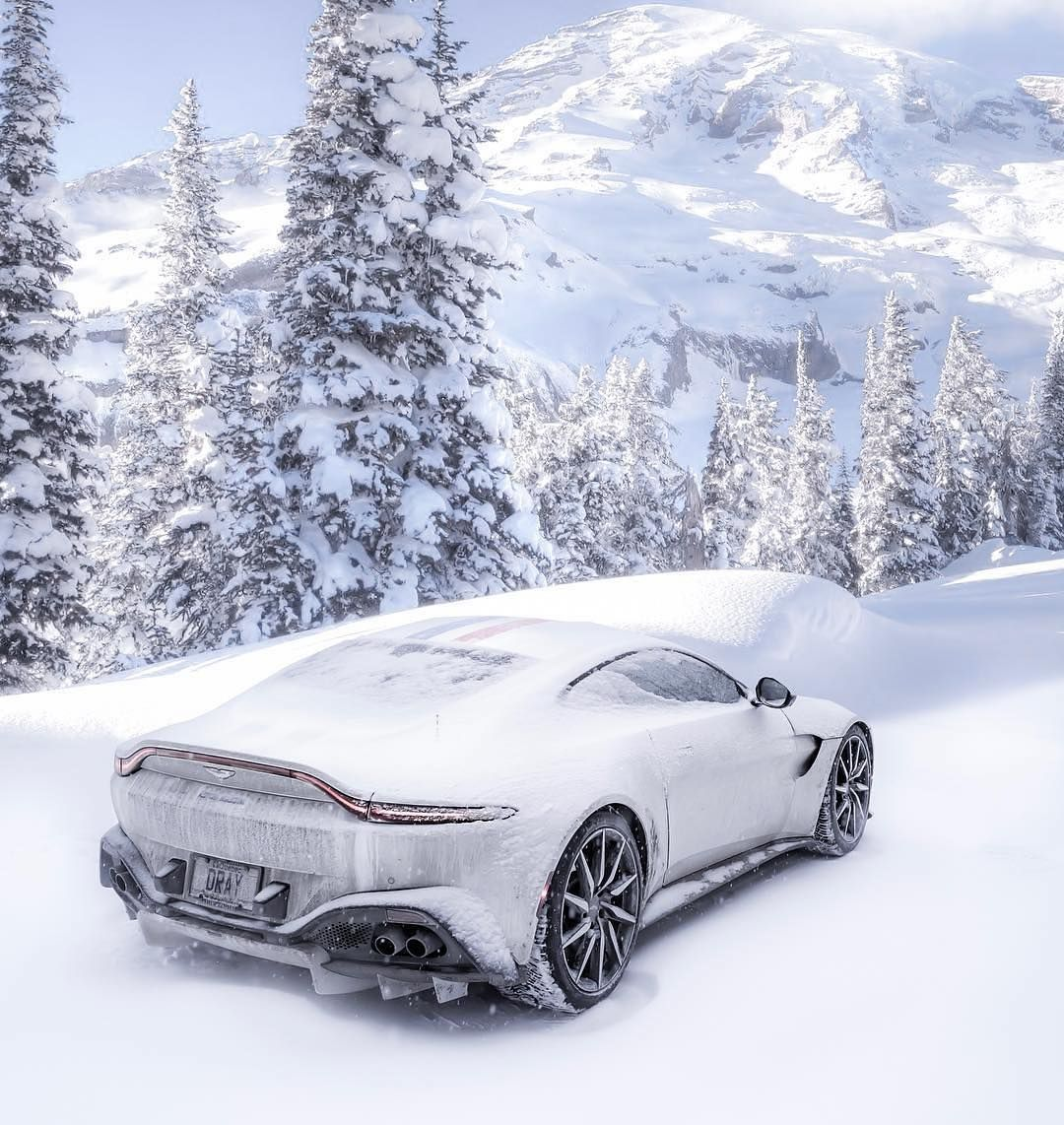 Carlifestyle On Instagram What S The Best Sports Car For The Snow This Vantage Driven By Drivewithdray Carlifestyle Aston Martin Aston Martin Vantage Car