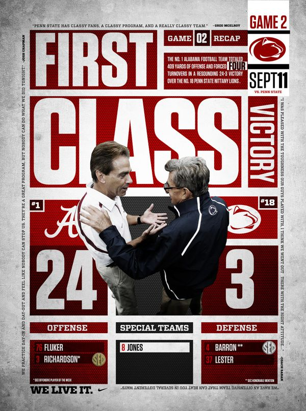 Alabama 24 Penn St 3 2010 Game Recap Graphic On Behance Nick Saban Vs Joe Paterno Alabam Alabama Football Roll Tide Alabama Football Team Alabama Football