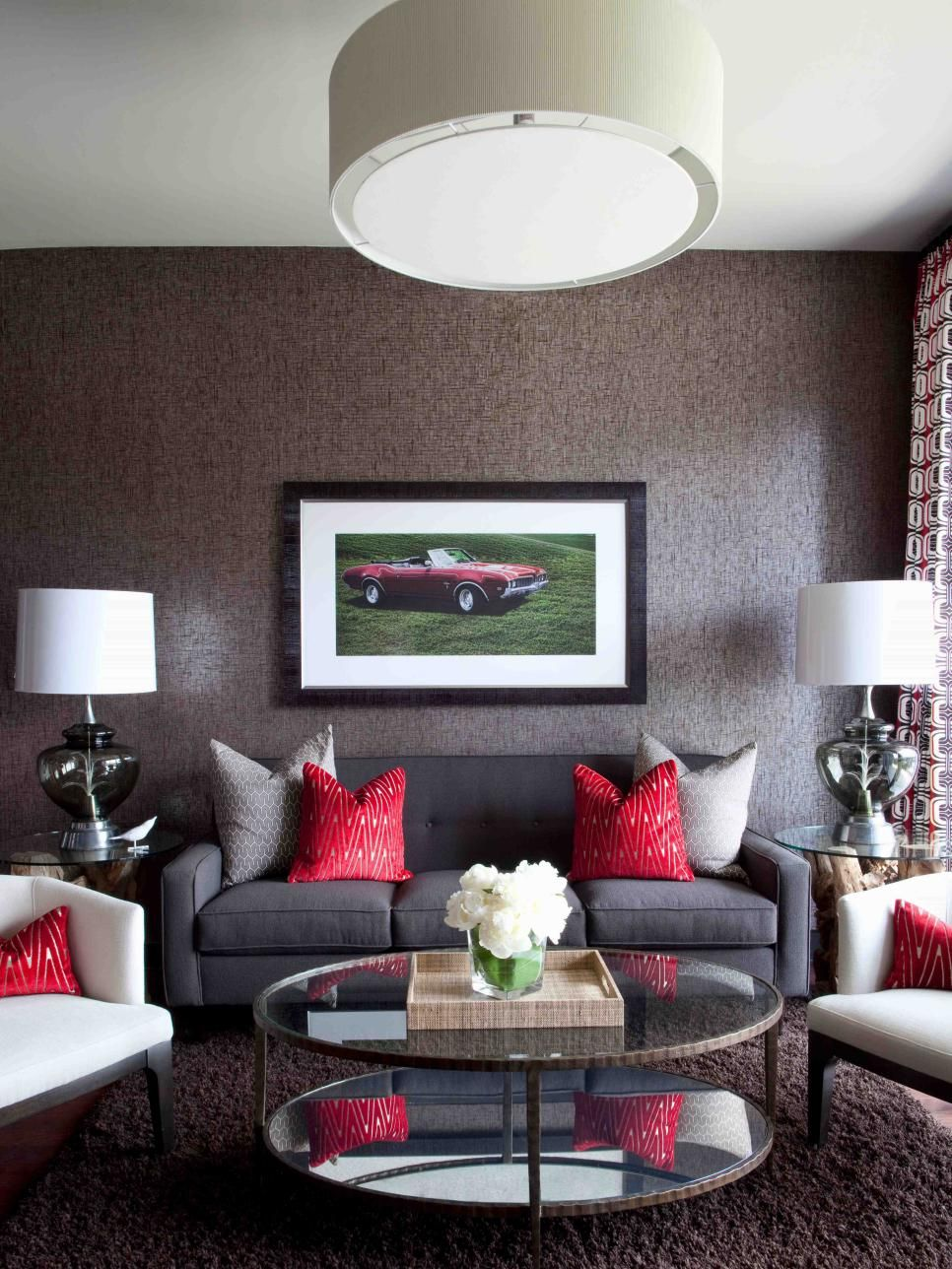 High End Bachelor Pad Decorating On A Budget Grey And Red Living Room Budget Friendly Living Room Living Room Red