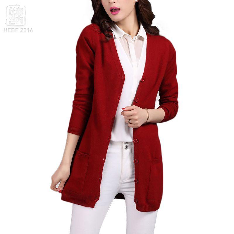 2016 Classic Cardigans V neck Fashion Basic Women Wool Knitted ...