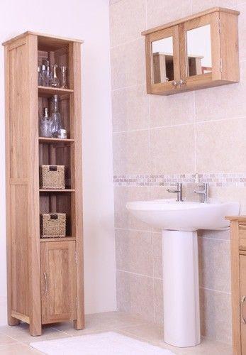 Bonsoni Mobel Oak Wall Mounted Bathroom Cabinet (Large) Both doors ...