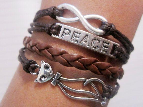 Braceletantique silver cat bracelet / peace bracelet / by lylord, $7.99