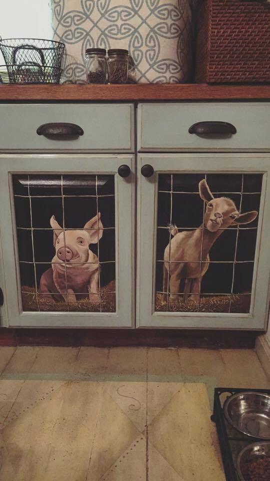 Cute Farm Animal Painted Cabinets