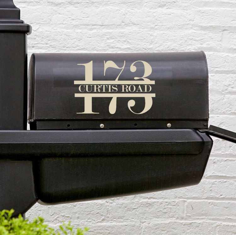 Outdoor Mailbox Vinyl Decals Custom Address Street Sign For Each Side Of Box 15 00 Via Etsy Mailbox Decals Address Decals Custom House Numbers