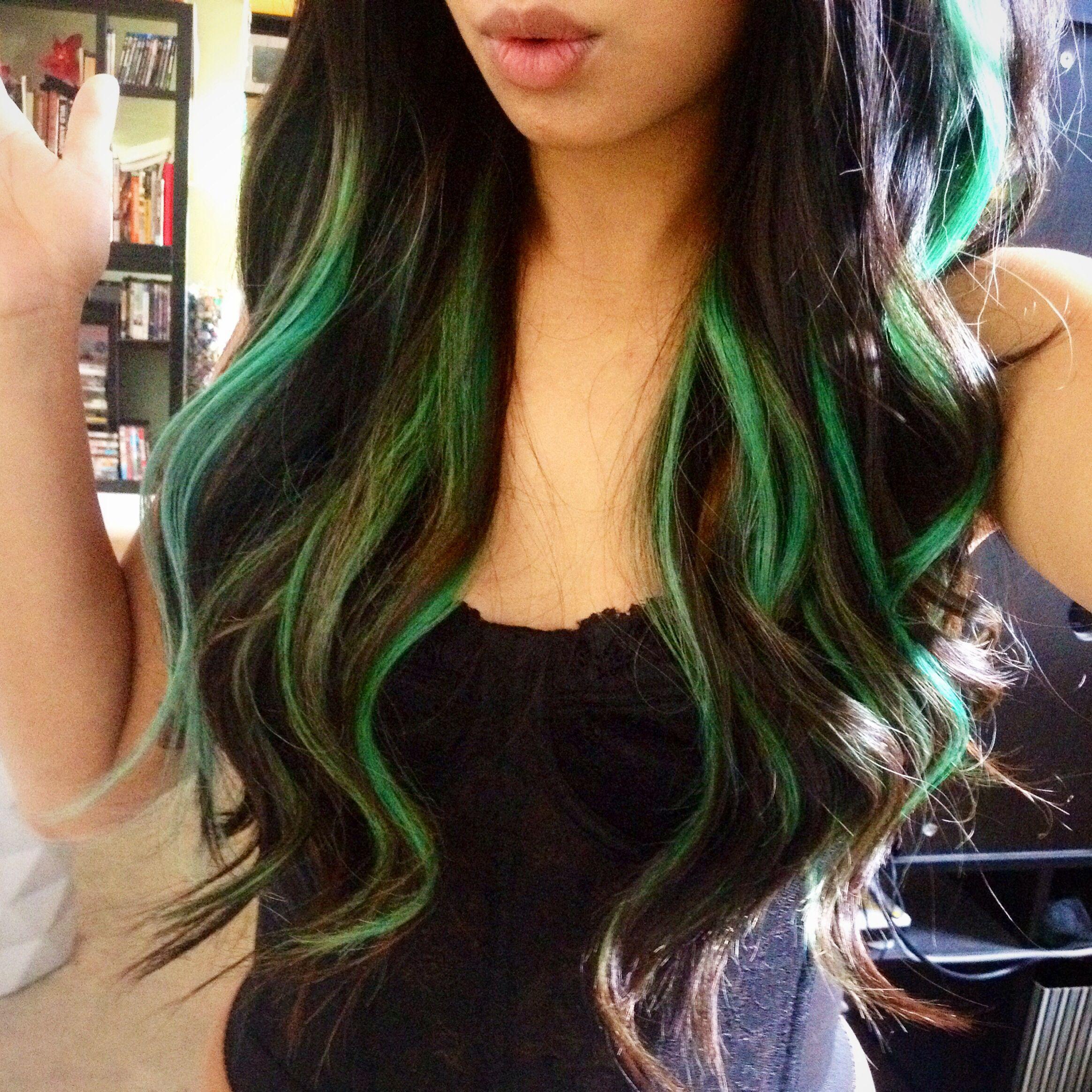 Green Peek A Boo Highlights Green Hair Ombre Green Hair Hair Streaks