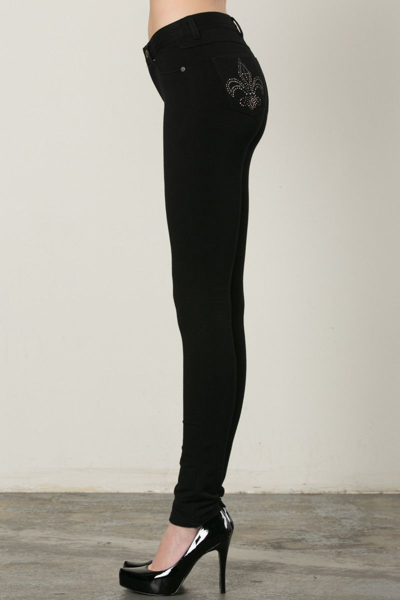 Casual Mid-Rise Fleur de Lis Embellished Legging Pants Black