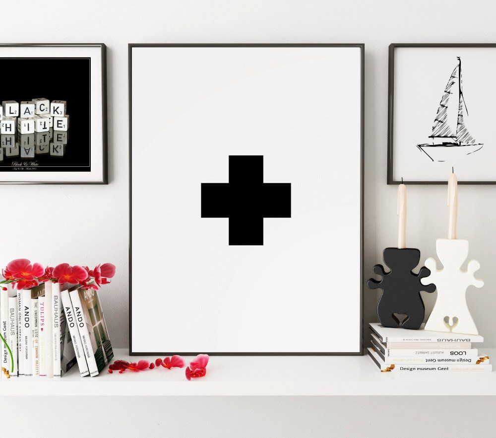Swiss cross wall art black and white geometric art nursery wall