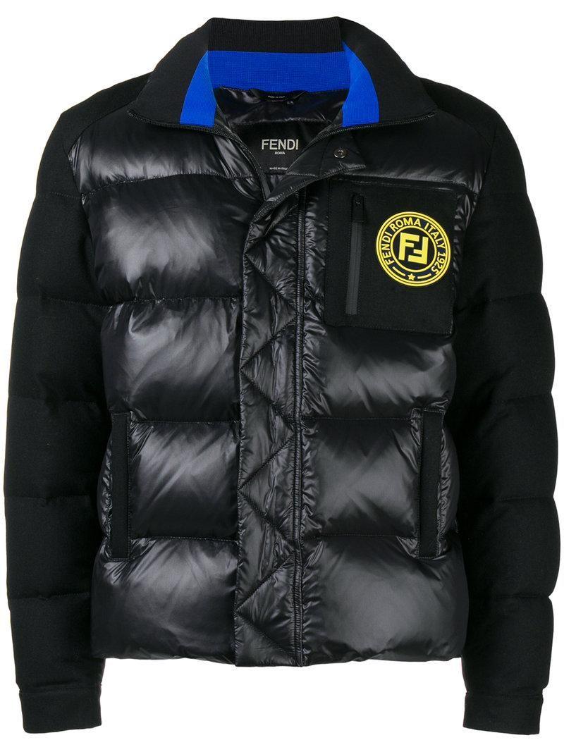 Fendi Logo Patch Puffer Jacket In Black Modesens Fendi Logo Jackets Padded Jacket [ 1067 x 800 Pixel ]