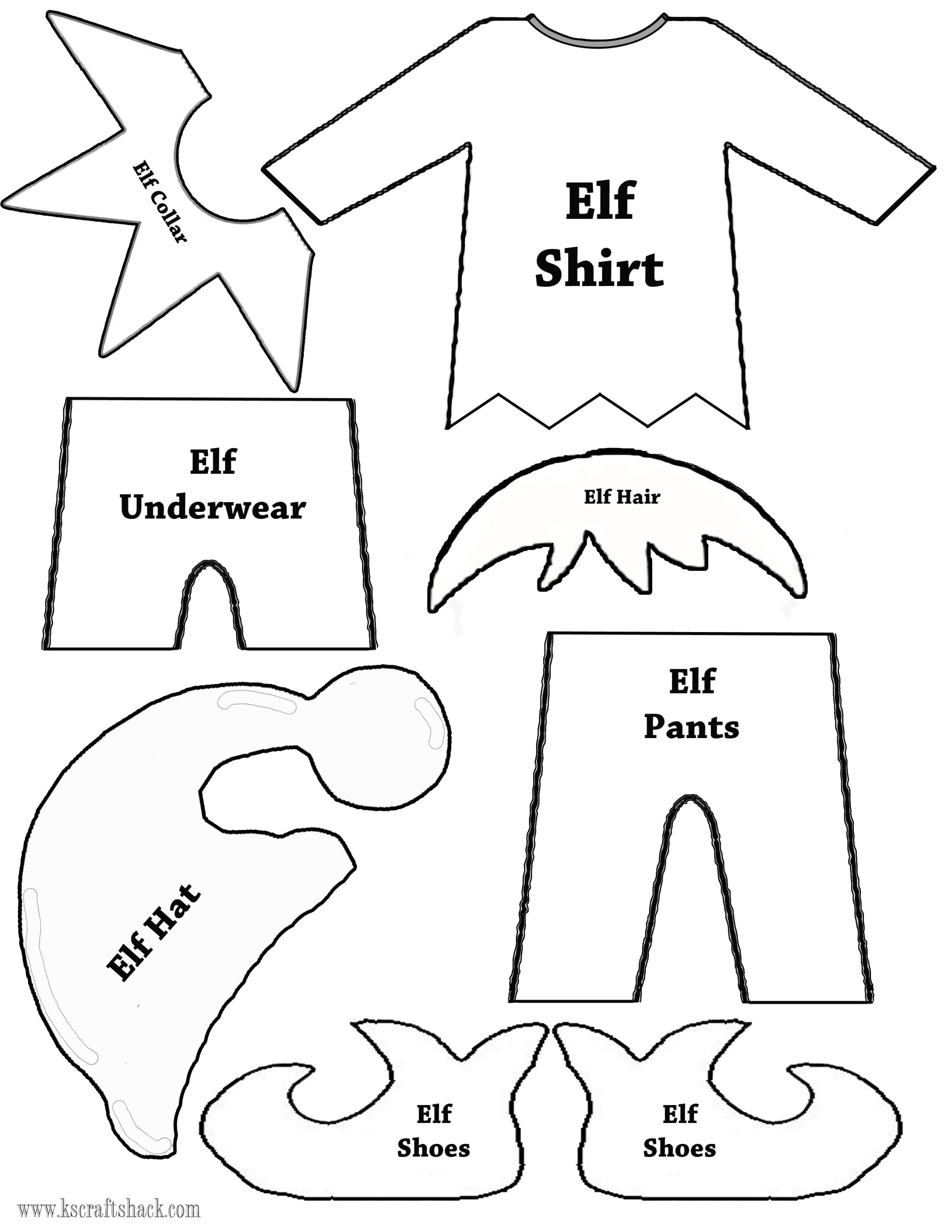 Elf clothes and parts template christmas pinterest for Elf shelf craft show