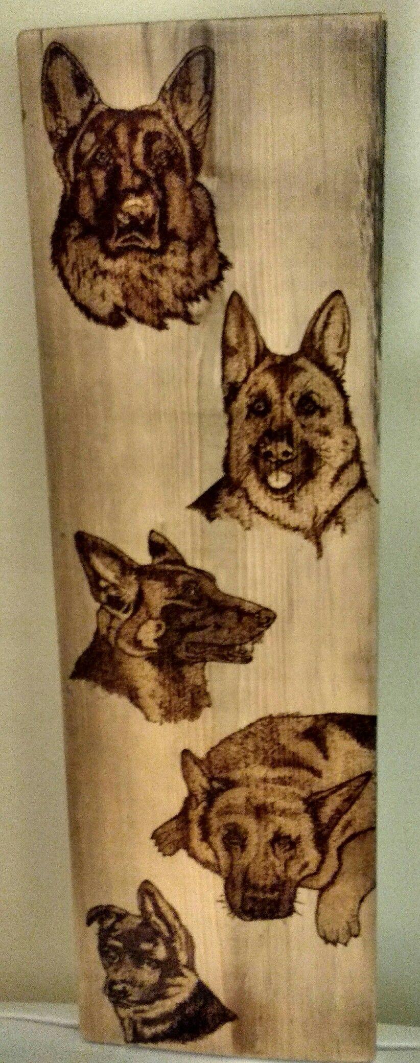 Custom Piece Wood Burned German Shepherds Wood Burning Art Pyrography Wood Burning