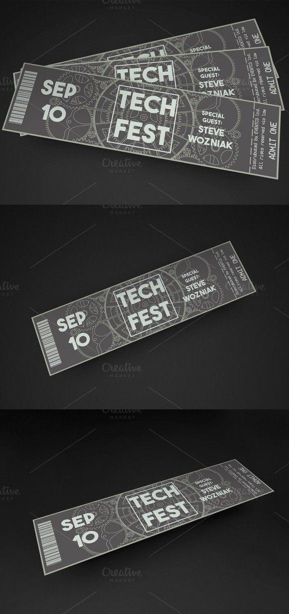 Tech Fest Event Ticket Invitation Templates $600 Invitation - ticket invitation template