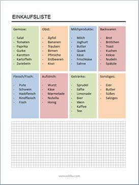 Einkaufsliste Einkaufszettel Vorlagen Zum Ausdrucken Einkaufsliste Vorlage Einkaufsliste Haushaltsplan Vorlage