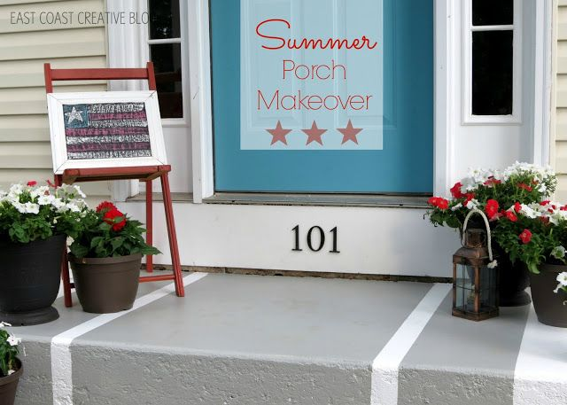 Summer Porch Makeover - East Coast Creative Blog  HOE TO PRIME AND PAINT CONCRETE - ? FOUNDATION PAINTING JOB?