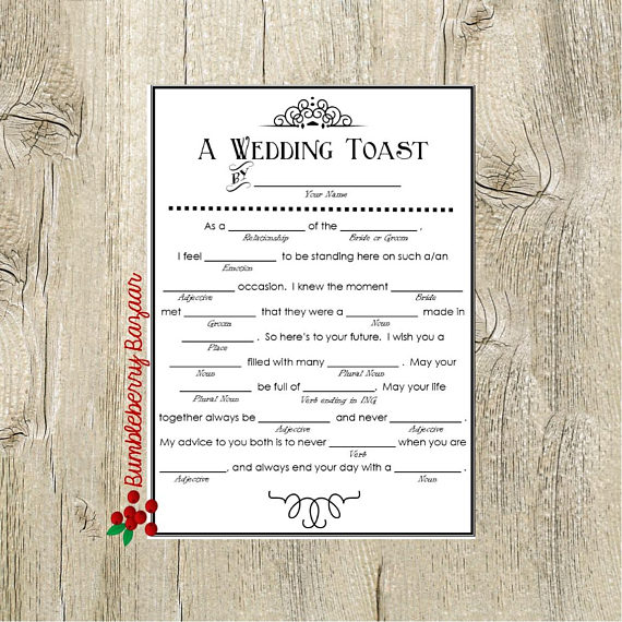 Wedding Vow Mad Libs Printable: Printable Wedding Toast Mad Lib