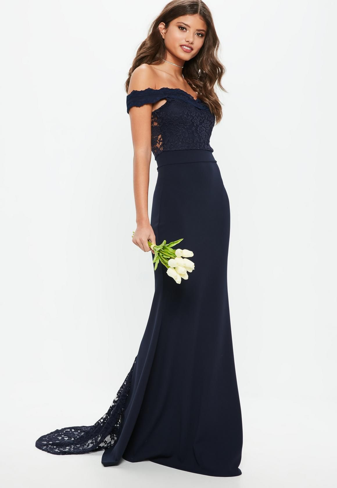 Bridesmaid navy bardot lace insert fishtail maxi dress in