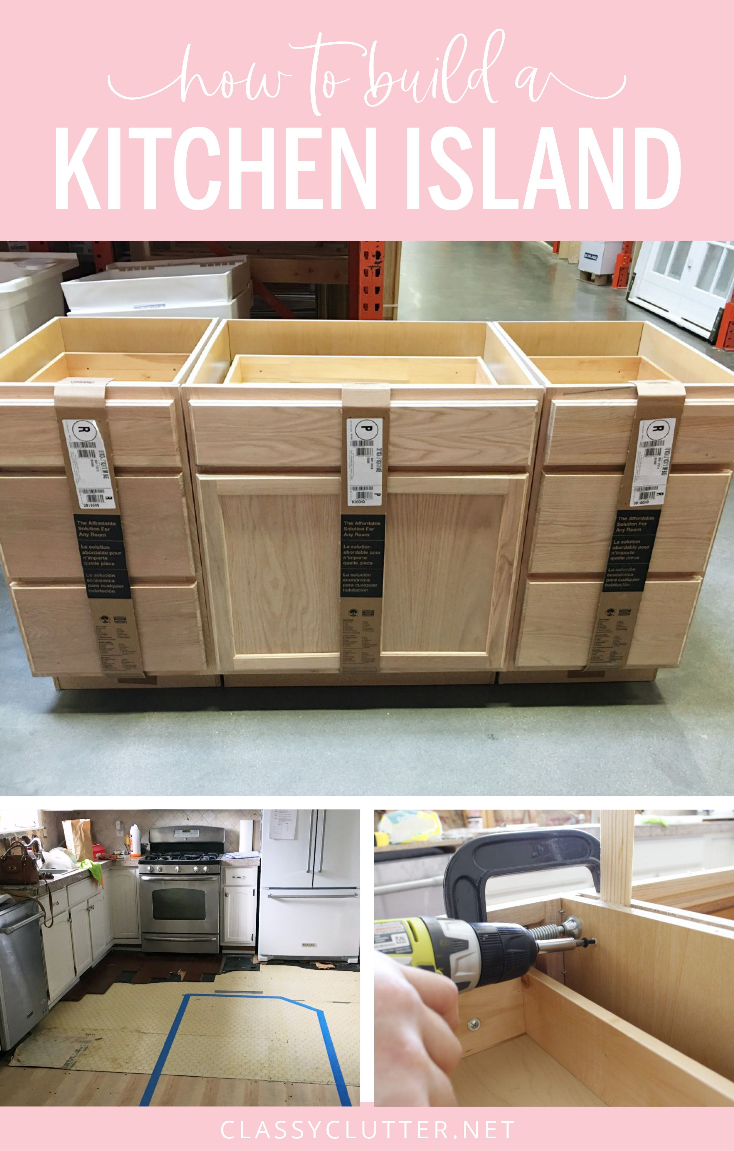How To Build A Kitchen Island Easy Diy Kitchen Island Build Kitchen Island Building A Kitchen Kitchen Island Using Stock Cabinets