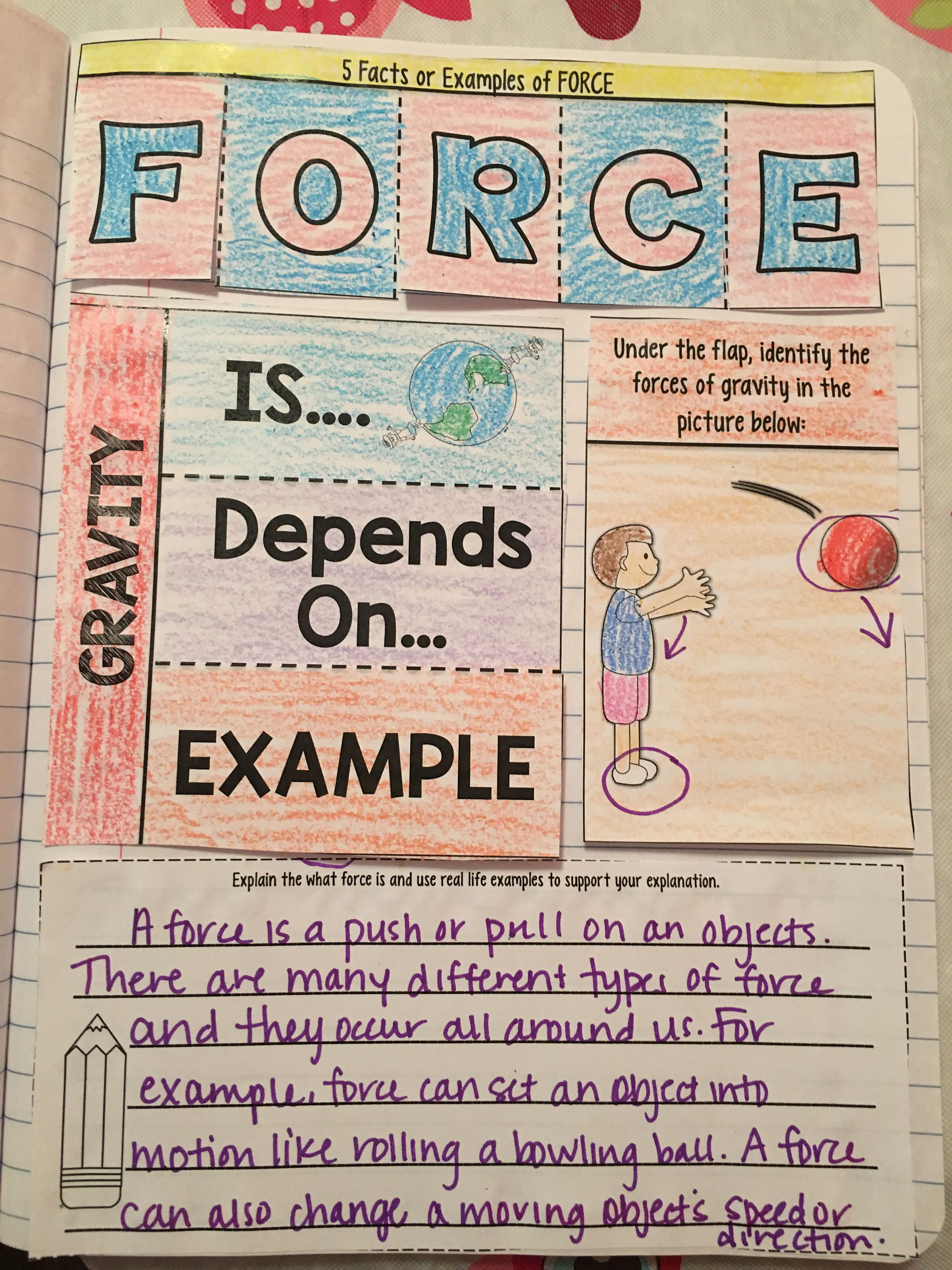 Force Reading Comprehension Interactive Notebook Mini