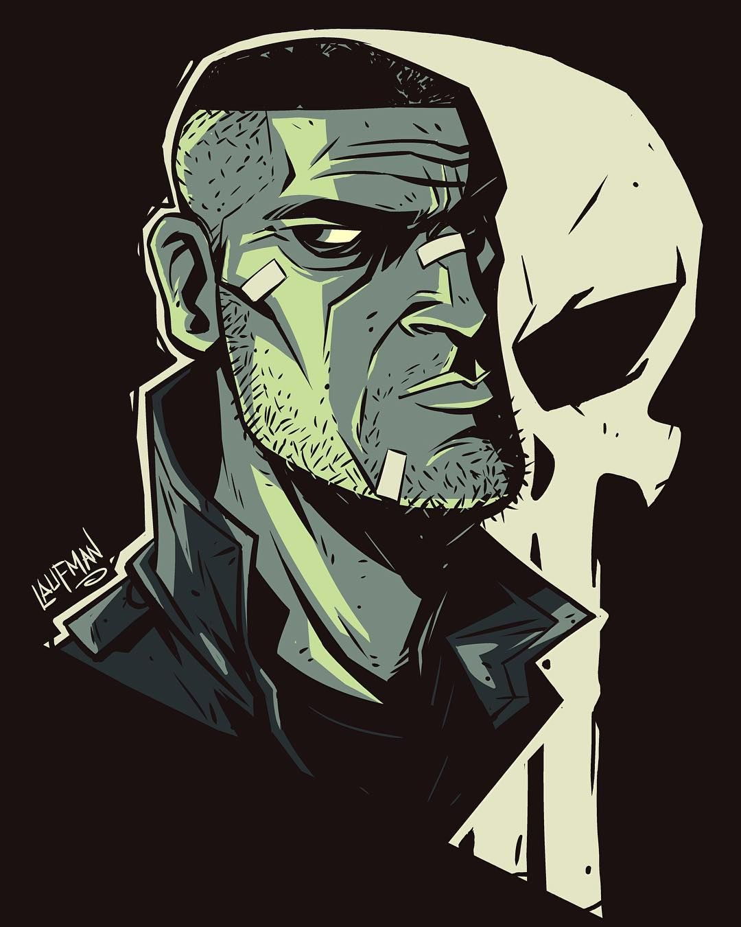 "dereklaufman: "" Punisher head sketch. I love how they light him on the show in greens so I decided to have fun with that palette and stylize this one. Print available at Dereklaufman.com (link in my profile) #cintiq24hd #mangastudio #sketch..."