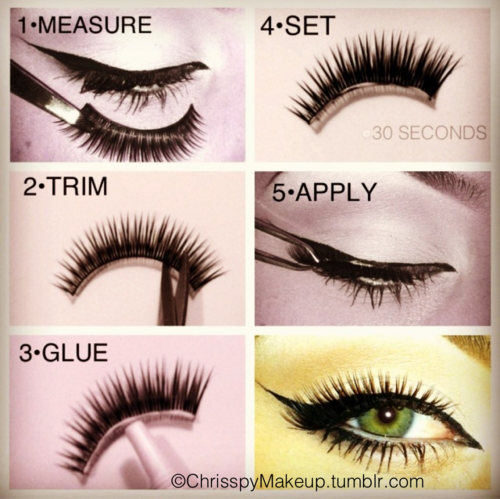 How To Apply False Lashes 1 Measure The Length Of The Lashes By Holding Them Up To Eye 2 Once The Lashes Are Fake Eyelashes Fake Eyelashes Applying Makeup