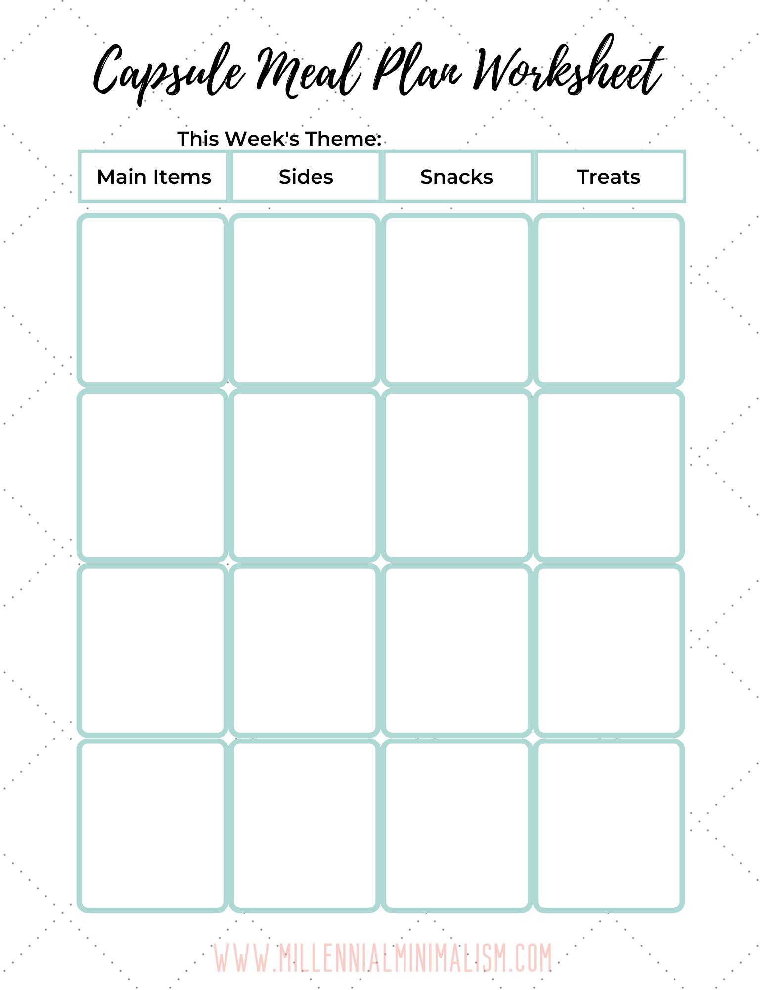Capsule Meal Plan Worksheet In