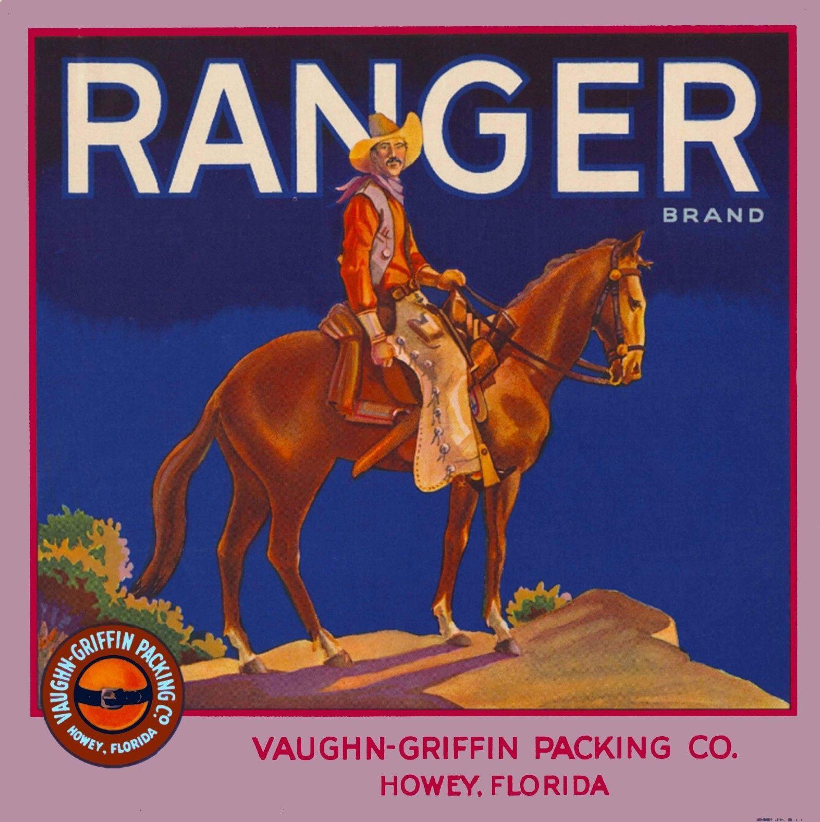 Howey Florida Ranger Brand Cowboy Orange Citrus Fruit Crate Label Art Print