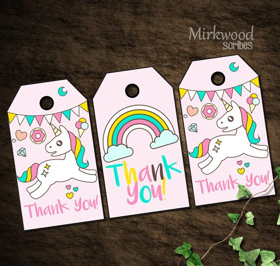 Magical Unicorn Donuts And Rainbows Thank You Gift Bag Tags