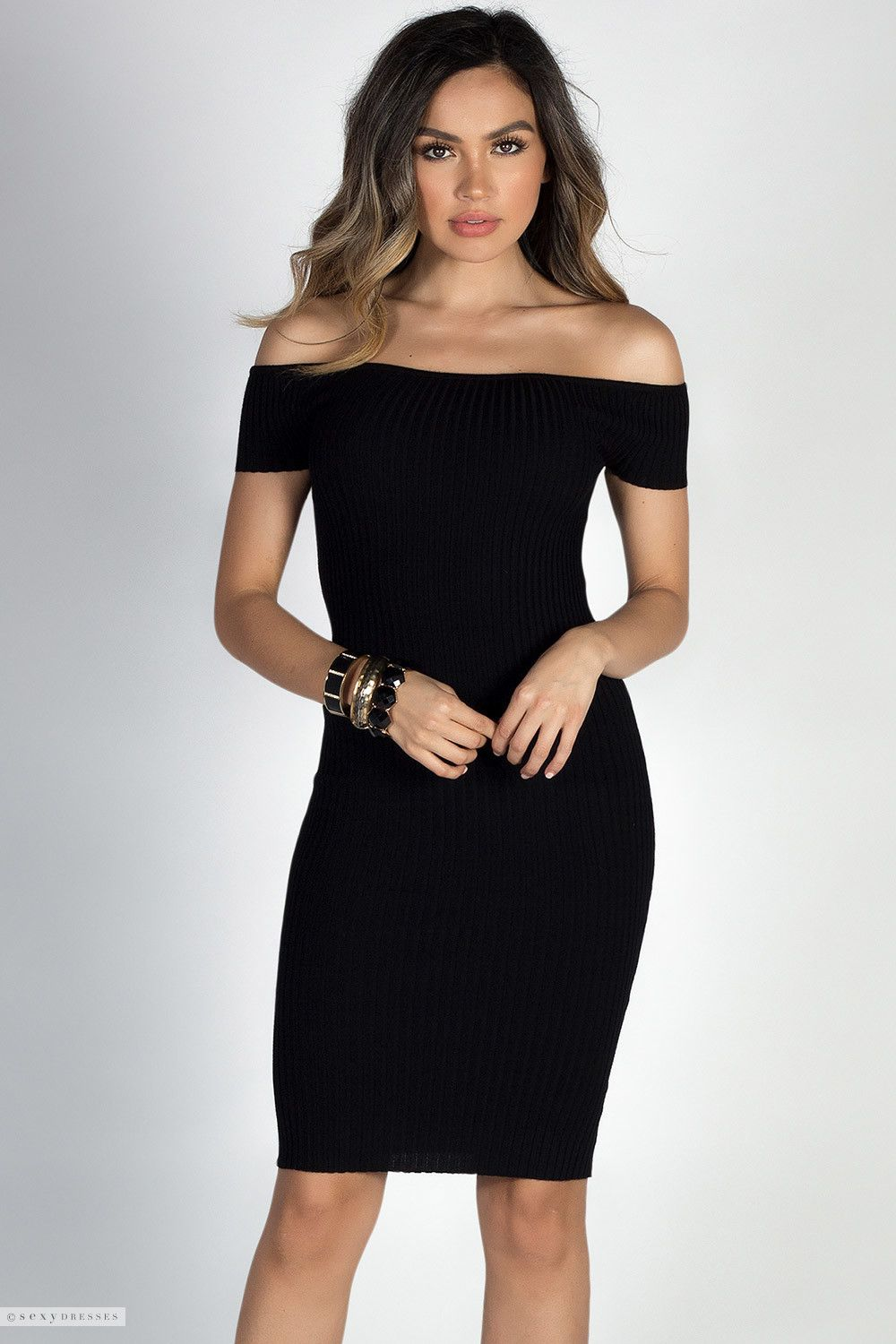 dd8ee899ee8e Ribbed Bodycon Short Sleeve Off Shoulder Sexy Little Black Dress