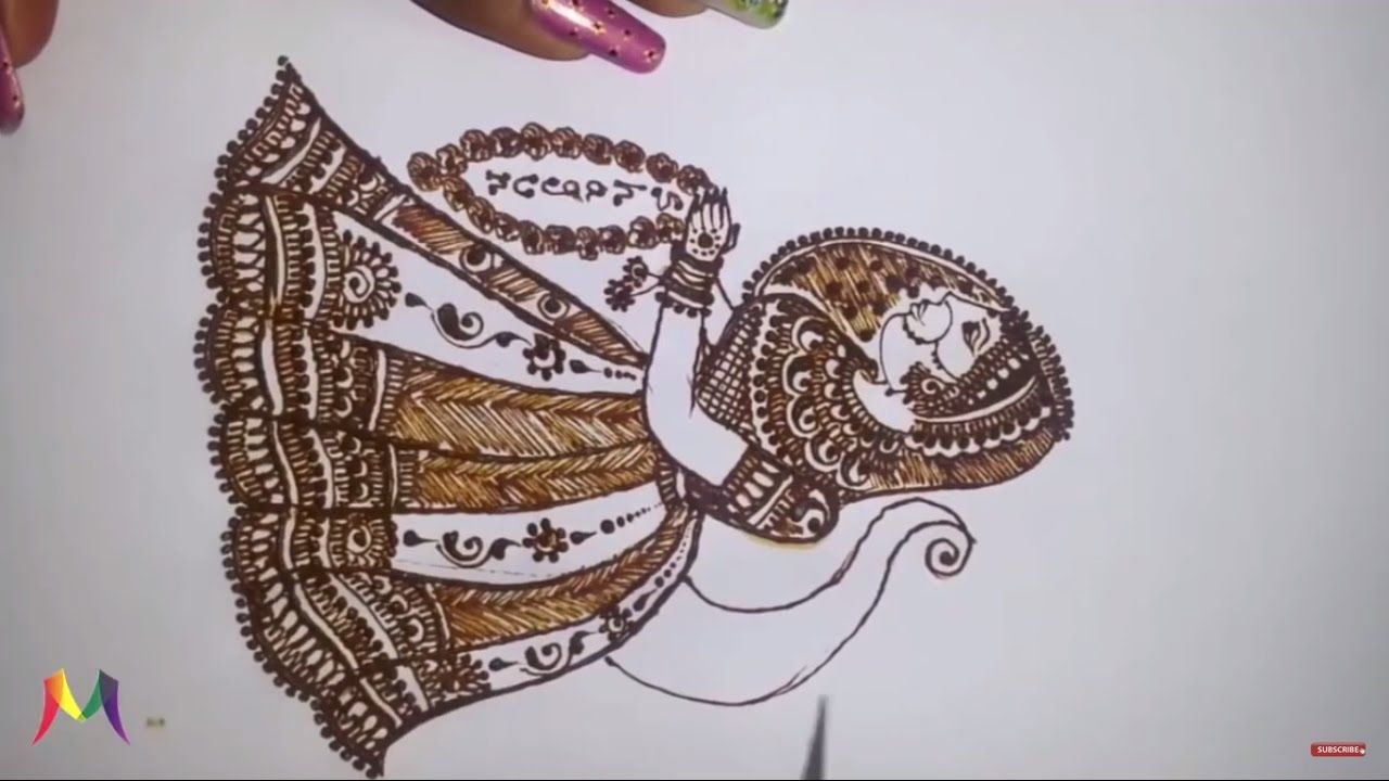 Mehndi Drawing Pictures : Artist drawing henna indian mehndi editorial photography image