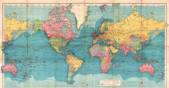 Antique Digital World Map Print Colorful Printable World Map