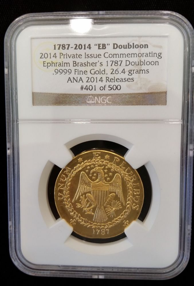 GOLD COIN 1787 BRASHER DOUBLOON RESTRIKE RARE MINTED AT 2014 CHICAGO ANA NGC