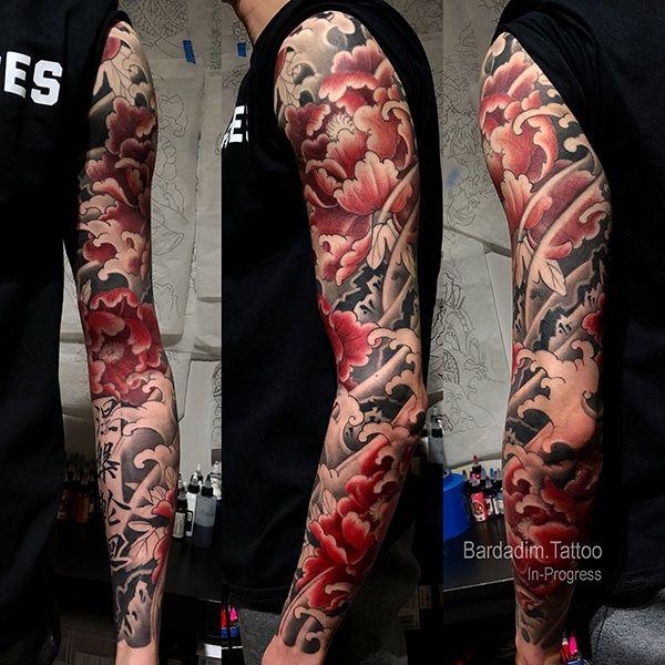 Japanese Sleeve Flowers - Bardadim Tattoo - NYC