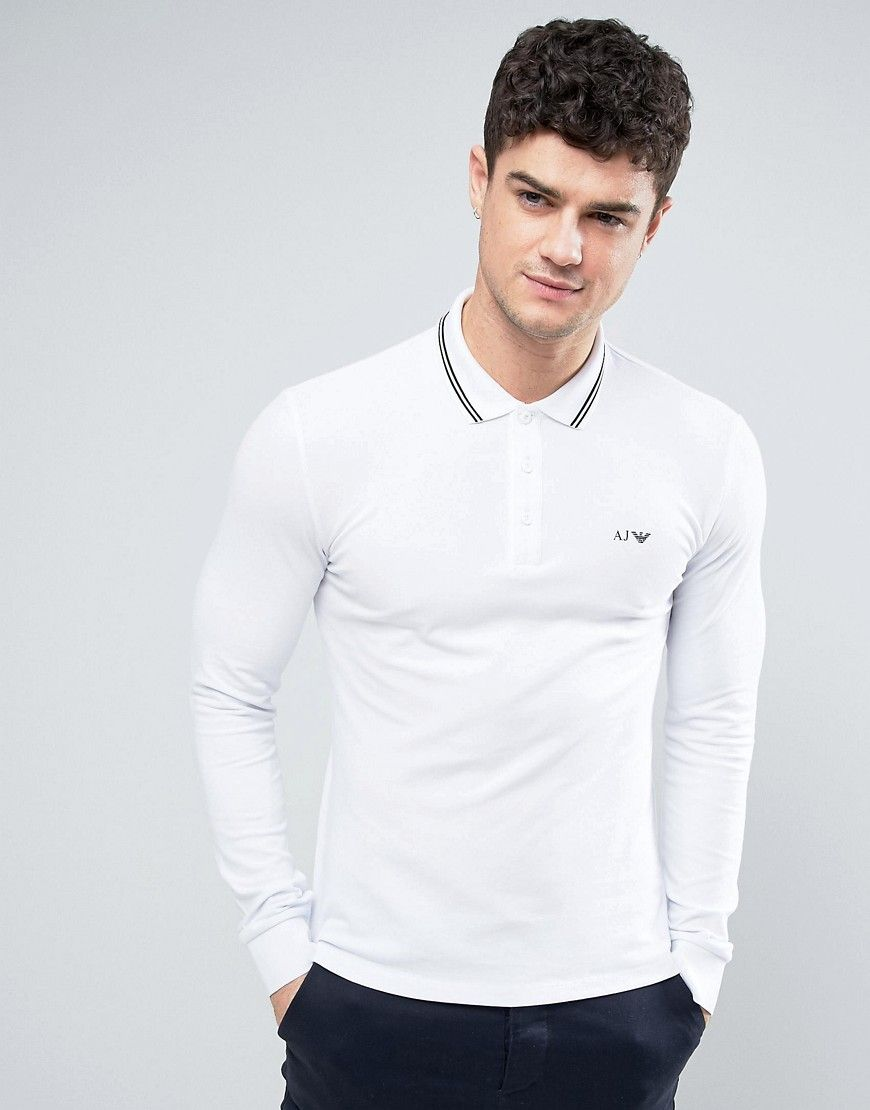 173b1d85 Armani Jeans Long Sleeve Pique Polo Slim Fit Tipped in White - White