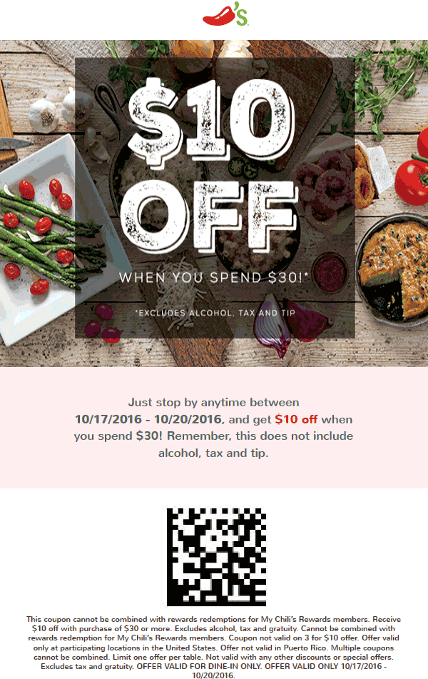 Chilis Promo Coupon 10 Off 30 At Restaurants