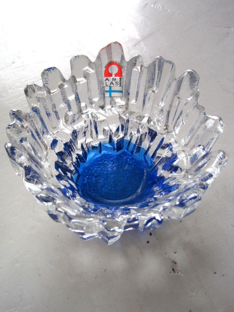 Delft serviesje-Finse kunst glas Clear en kobalt blauwe
