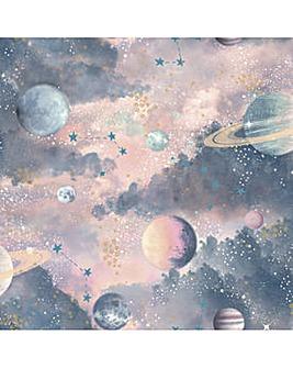 Arthouse Glitter Planets Wp Planets Wallpaper Pink Wallpaper Home Art