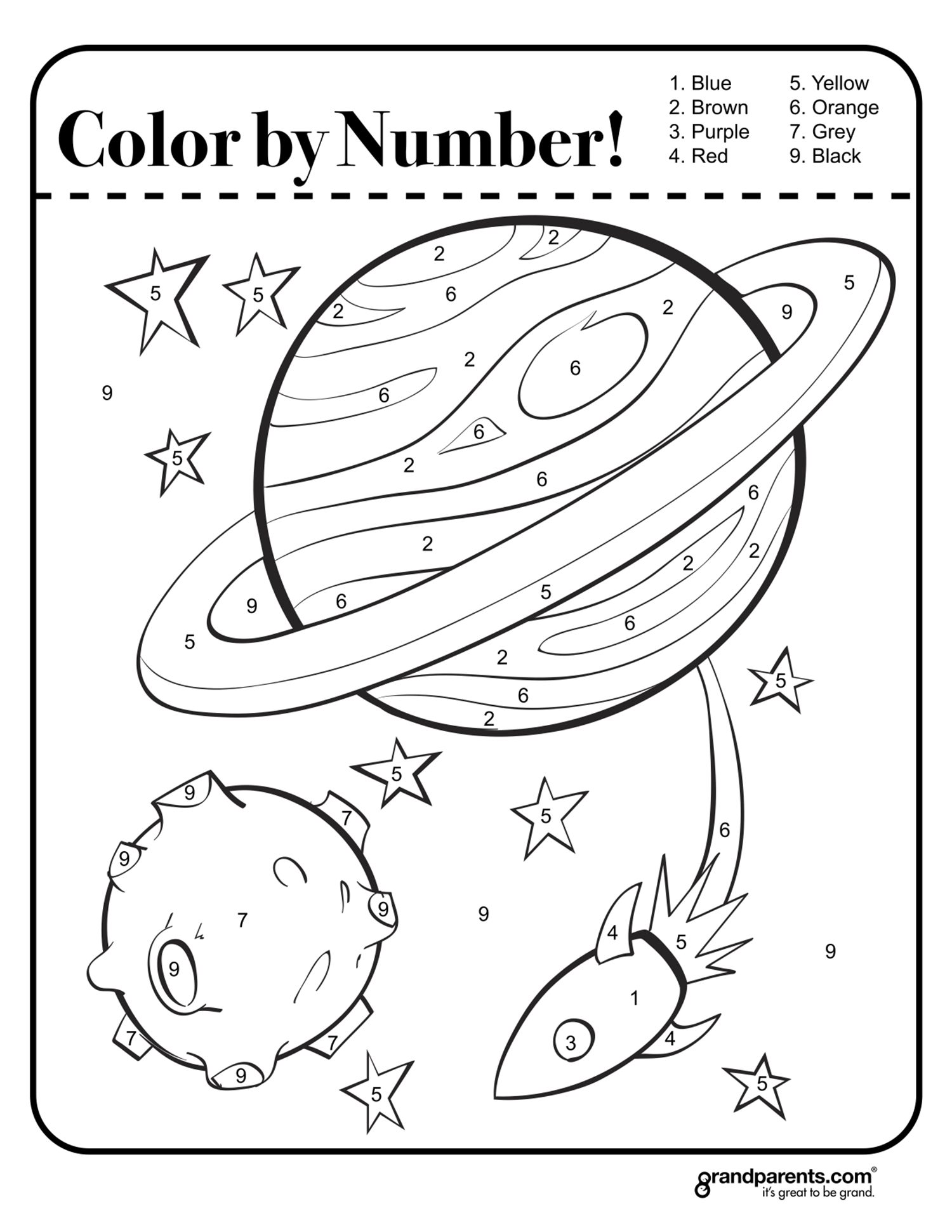 Color By Number Space Worksheet Space Coloring Pages Space Activities Outer Space Activities