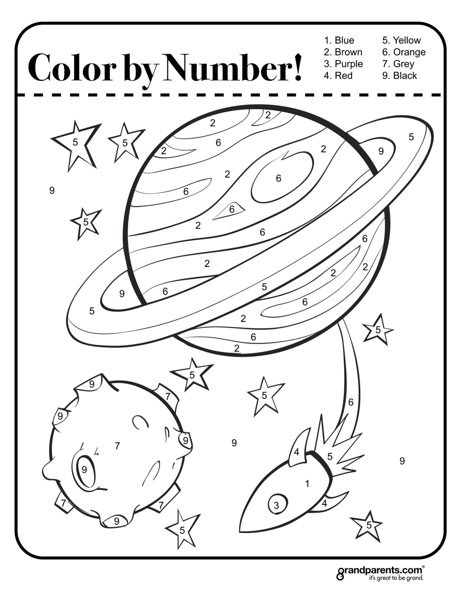 Color by number - space worksheet | űr | Pinterest | Worksheets ...