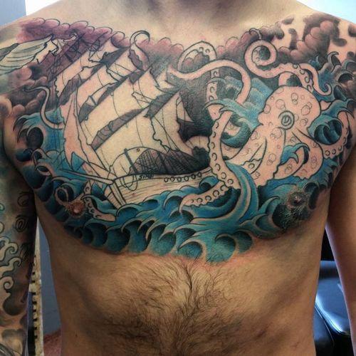 Tatouages Octopus Et Bateau Et Significations Kraken Idees De